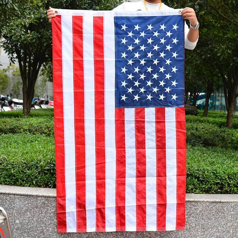 Thêu Lá Cờ Mỹ Mịn dệt Lá Cờ Mỹ Mỹ Sao và Sọc Thêu Cờ