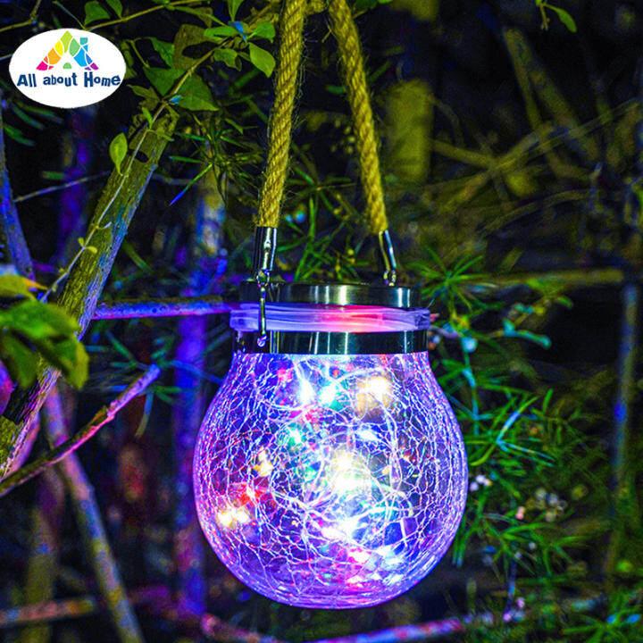 Abh Gantung Lampu Solar Dunia Kaca Retak Led Lampu Balang Hiasan Taman Luar Kalis Air Untuk Patio Yard Pagar Post Dek Lazada