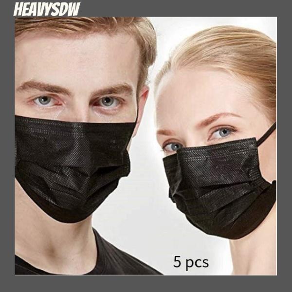 【ลดราคา】【 100000 ในสต็อก】【 COD 】 5 ชิ้นกลางแจ้งขี่จักรยาน faceshield windproof กันน้ำกันฝุ่นกว้างใช้ปรับหูห่วงป้องกัน faceshield KF94 Mask ผ้าที่เป็นมิตรกับผิว สี black-
