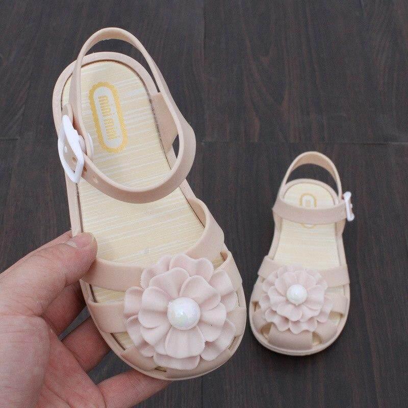 a0d79f3a9f8a2 2018 Summer Pearl Flower Girls Sandals Princess Baby Toddler Melissa Girl  Sandals Kids Casual Flat Shoes