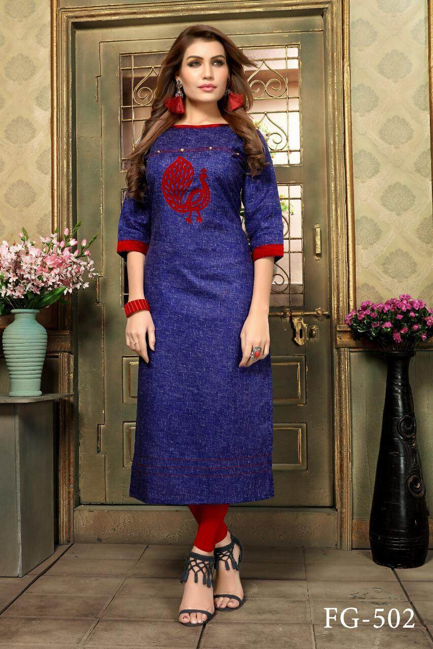 Khadi Cotton Kurtis By Fairies Collectionz.