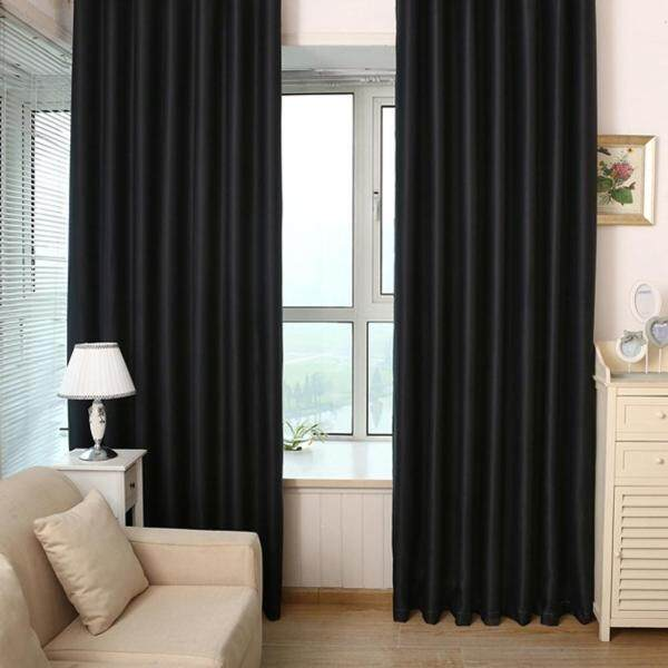 New Arrival Solid Black Blackout Curtains Window Door Curtain for Living Room Bedroom