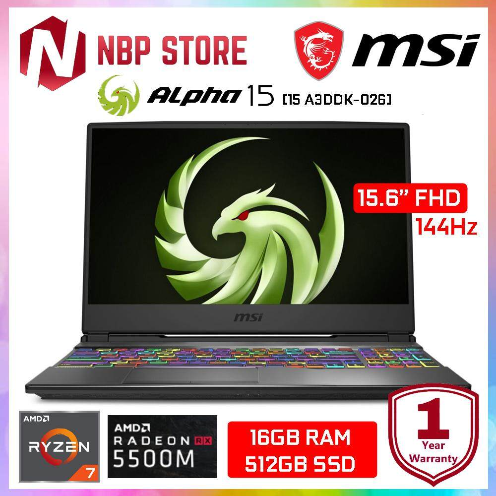 MSI Alpha 15 A3DDK-026 15.6  FHD IPS 144Hz Gaming Laptop ( Ryzen 7-3750H, 16GB, 512GB SSD, RX5500M 4GB, W10 ) Malaysia