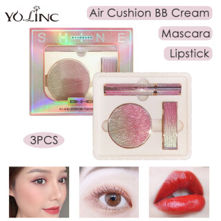 YOLINC Kit Riasan Wajah 3 Dalam 1, Lipstik & Maskara & Bantalan Udara Krim BB Set Baru Riasan Dasar Modis Tahan Lama thumbnail