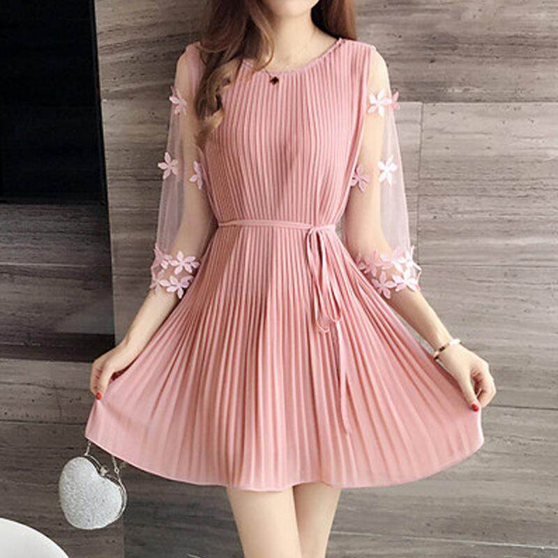 66d74f1be120f Women's Fashion: Mini Thin Chiffon Dress Round Neck Half Sleeve Mesh For  Summer