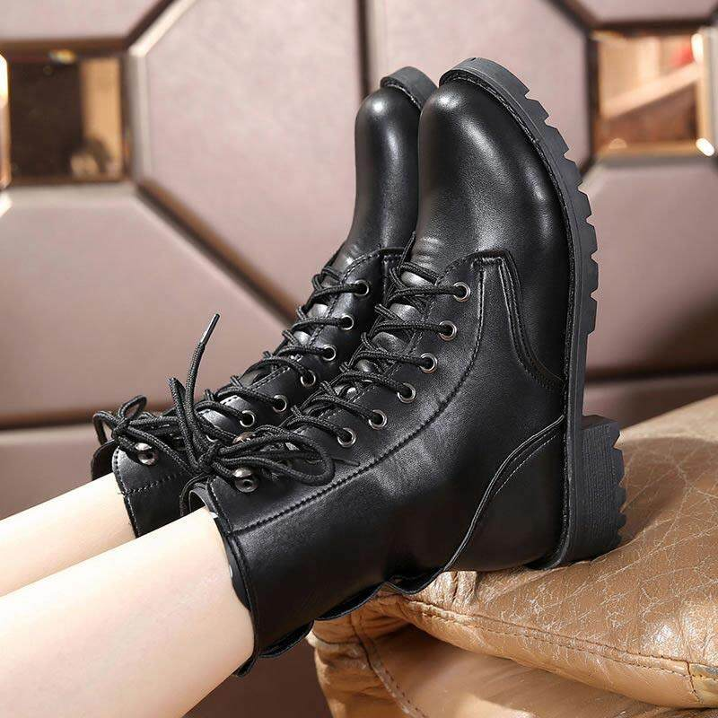 da2278d3f5672 Fashion Winter snow boots 2019 autumn lace-up martin boots pu leather  motorcycle boots women