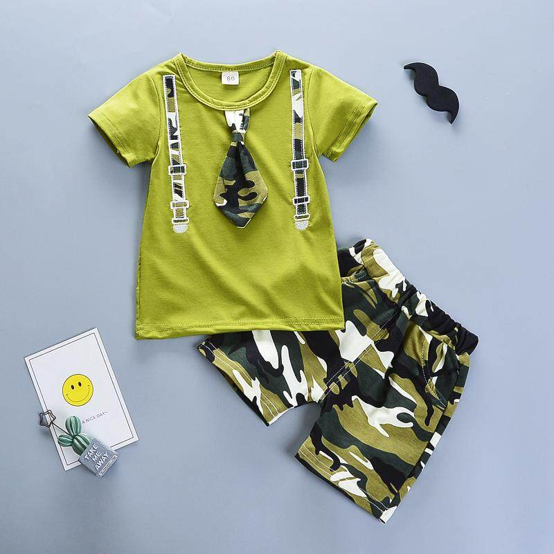 78c35b8c3a5a BibiCola new children boys summer clothing set casual camouflage  t-shirt+shorts 2pcs outfits