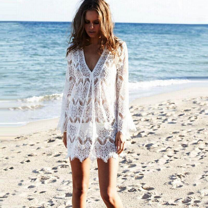 6b85af70dc Salidas De Playa Para Mujer Crochet Beach Tunic Cover Ups Dress Swimwear  Women Swimsuit Long Sleeve