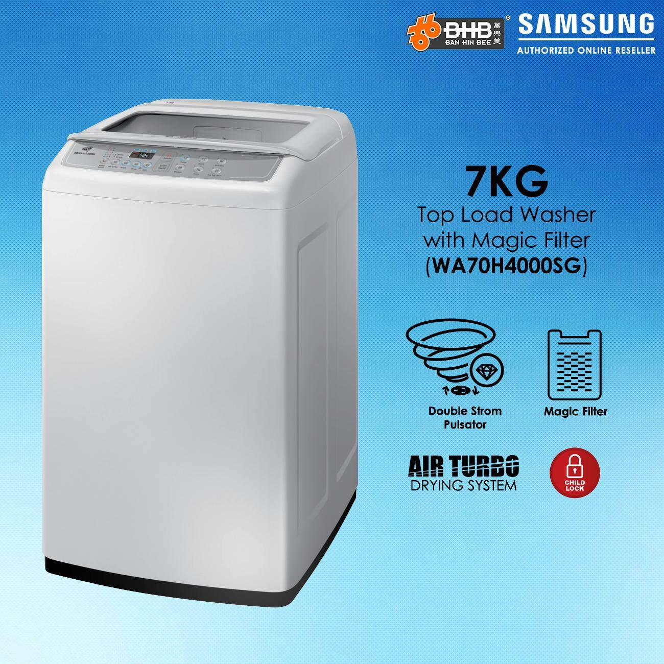 Samsung 7KG Top Load Washer with Magic Filter WA70H4000SG