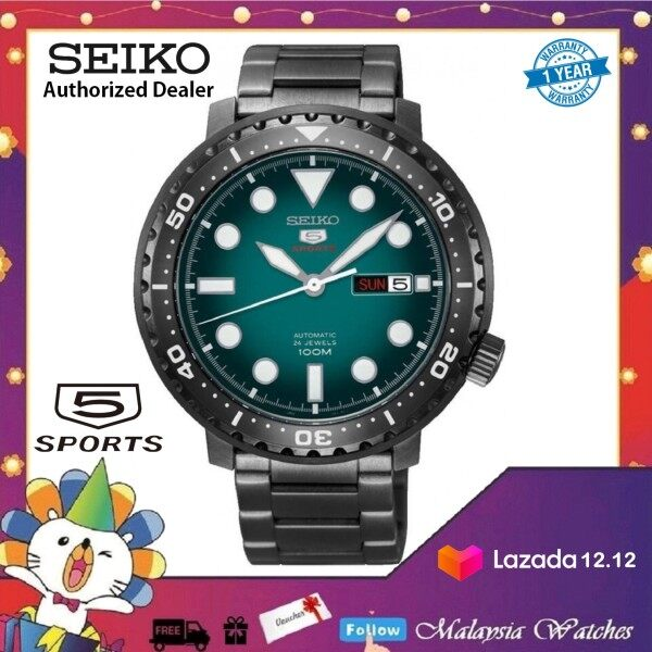 Seiko 5 Sports Bottle Cap Automatic SRPC65K1 Gents Black Stainless Steel Watch Malaysia