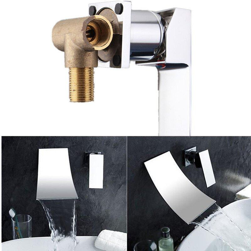 Two Holes Bathroom Faucet Single Handle Sink Mixer Tap Wall Mounted Chrome Brass Waterfall Widespread