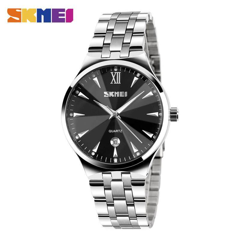 SKMEI Fashion Watches Couple Quartz Watch Stainless Steel Calendar Waterproof Business Wristwatches 9071 (1pcs) Malaysia