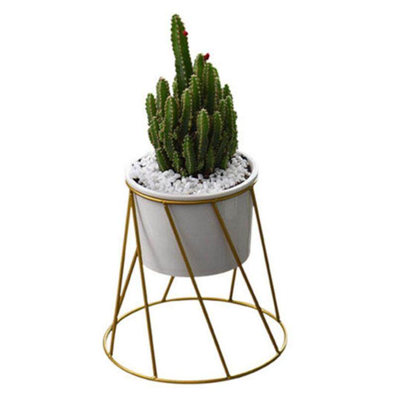 Nordic Wrought Iron Simple Fleshy Green Radish Flower Pot Ceramic Iron Frame Pot Combination Flower Pot Home Dec Gold