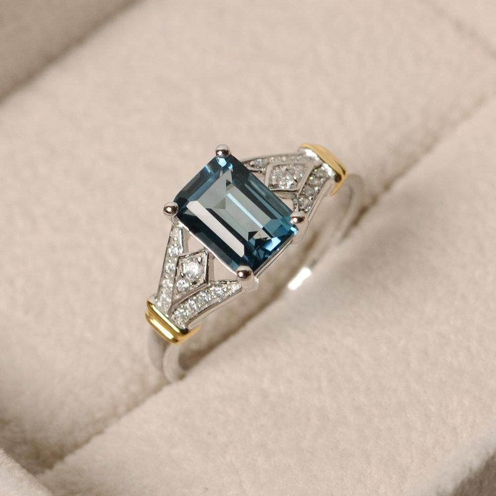 Day Gift Blue Women For Wedding Zircon Big Ring Crystal Jewelry Rings