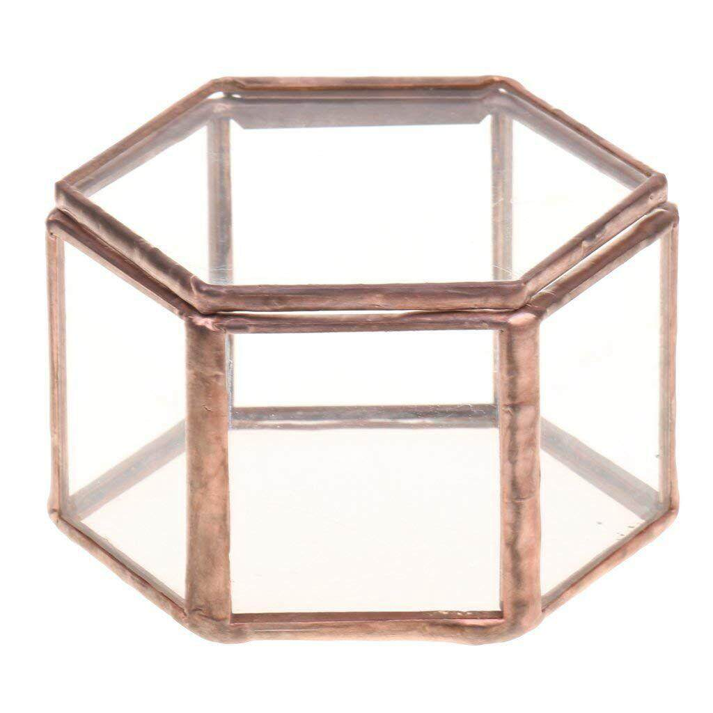 Geometric Glass Terrarium Box Jewelry Box Glass Succulent Plant Pot Deco Hexagon Shape