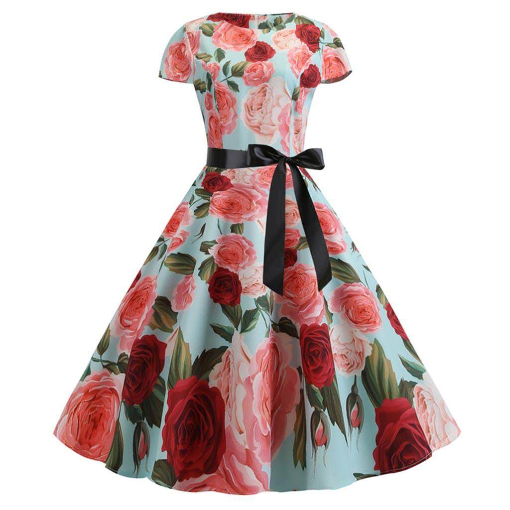 7d31b31a19e Women Casual Loose Floral Printed Women Vintage 1950s Retro Short Sleeve  Print Evening Party Gown Prom Swing Dress Dress Femaleladies dresses