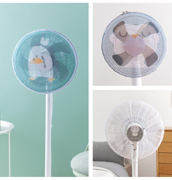Ready Stock DANDEA 1PC 16 Inch/18 Inch Washable All-inclusive Electric Fan Cover Anti-pinch Hand Child Protection Net Dust Cover Safety Protection Net Cover for Vertical Desktop Fan(not include fan)