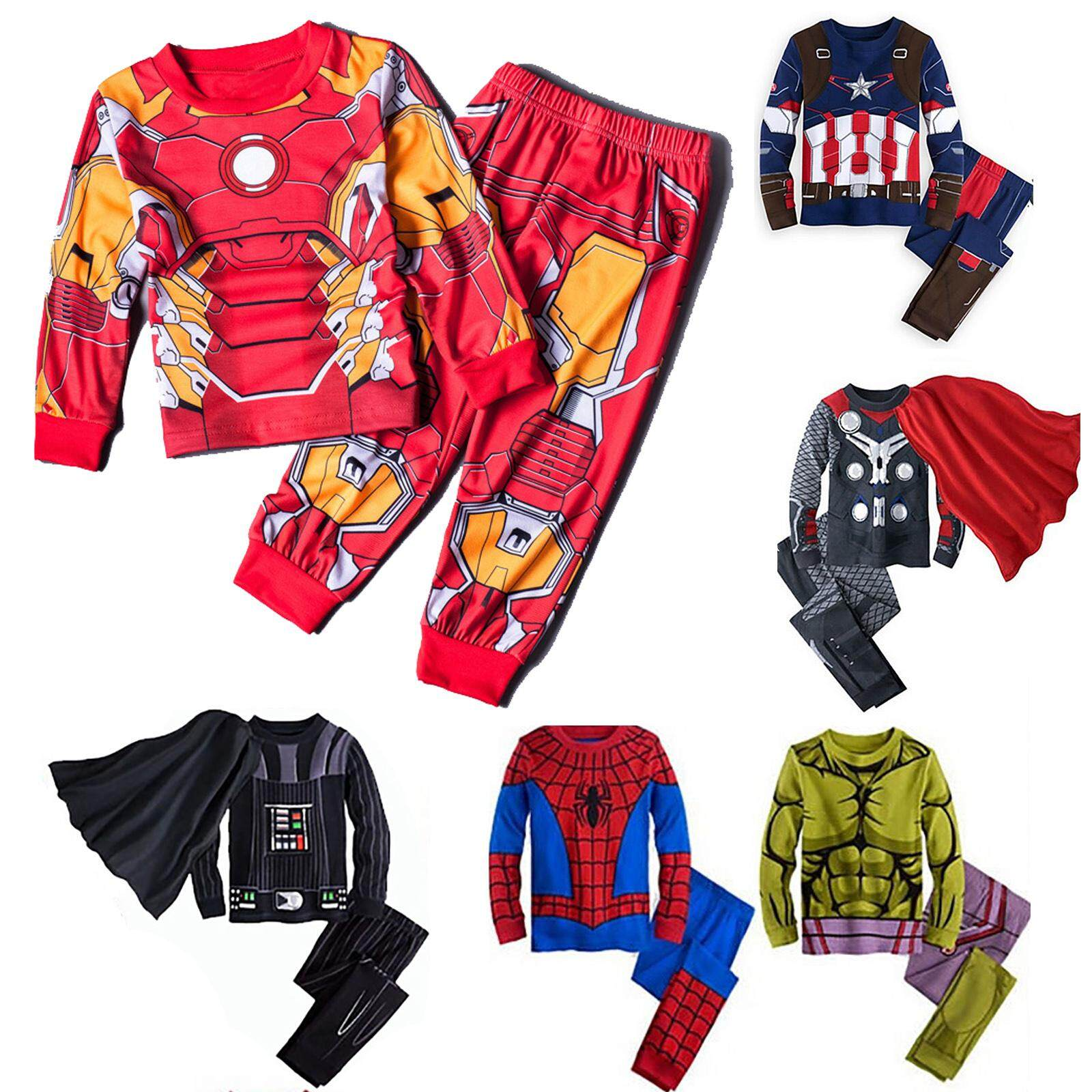 Fashion Kids Boys Soft 2pcs Long Sleeve Superhero Pajamas Set Sleepwear Cartoon Character Cosplay Costume Homewear By Linyoungstore.