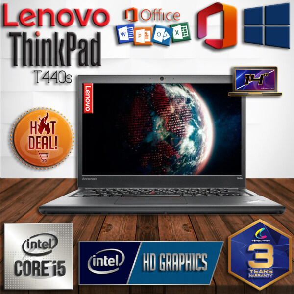 LENOVO THINKPAD T440s ULTRABOOK [ INTEL CORE I5-4300U / 4GB DDR3 RAM / 128GB SSD STORAGE / WINDOW 10 PRO GENUINE [ 3 YEARS WARRANTY ] [ LAPTOP ] Malaysia