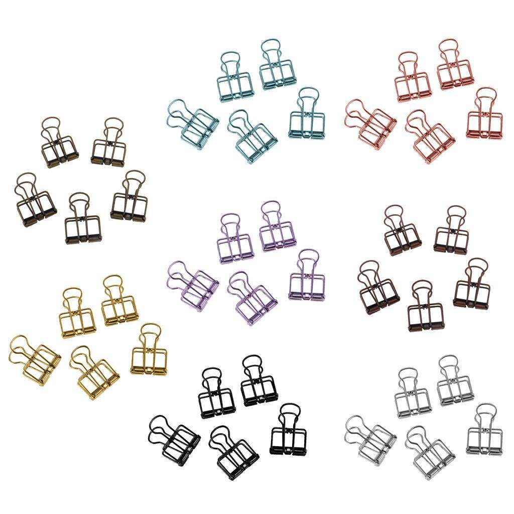 Blesiya 40 Pieces Hollow Long Tail Clips Folder Dovetail Wire Binder Clips