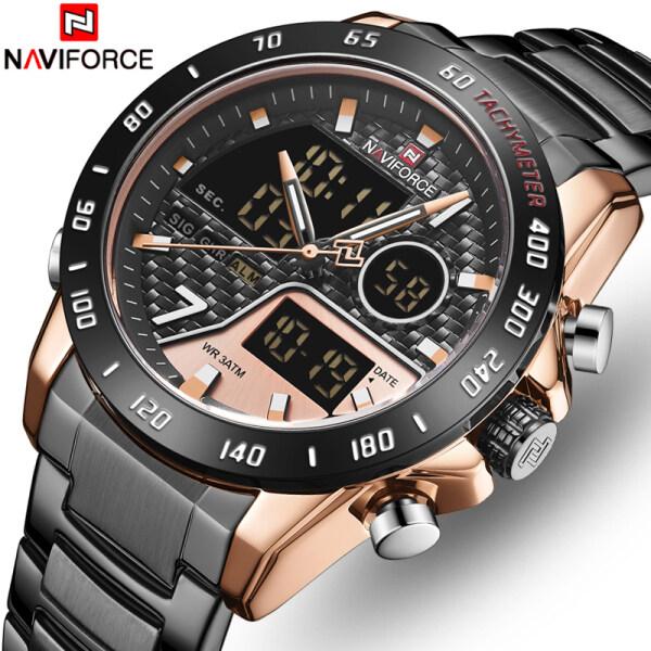 NAVIFORCE Mens Watches Fashion Sport Quartz Men LED Digital Chronograph Watch Men Full Steel Casual Waterproof Business Clock Malaysia