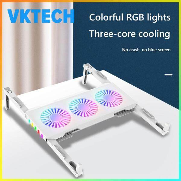 Laptop Cooler Three Fan RGB Light Portable Notebook Cooling Pad Stand Base Accessories Malaysia