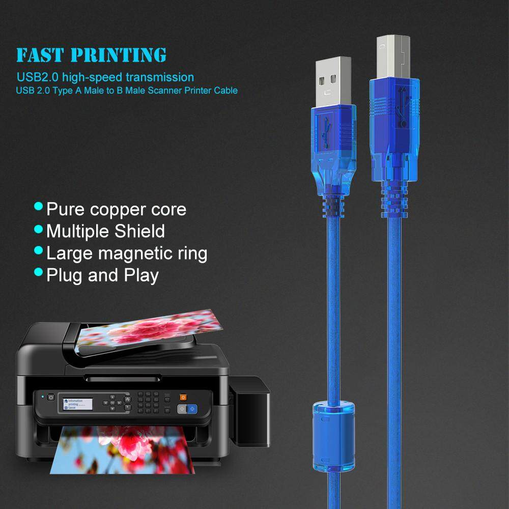 Speed Sync Data Cord USB 2.0 Printer Cable Scanner Wire Type A Male To B Male