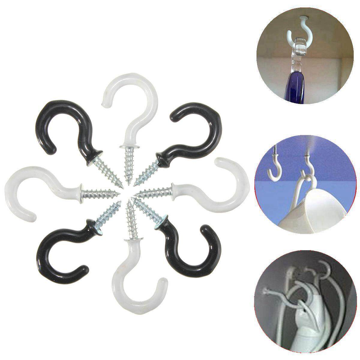 25pcs 30mm Screw In Cup Hook Picture Wall Hanging Plastic Coated Holder