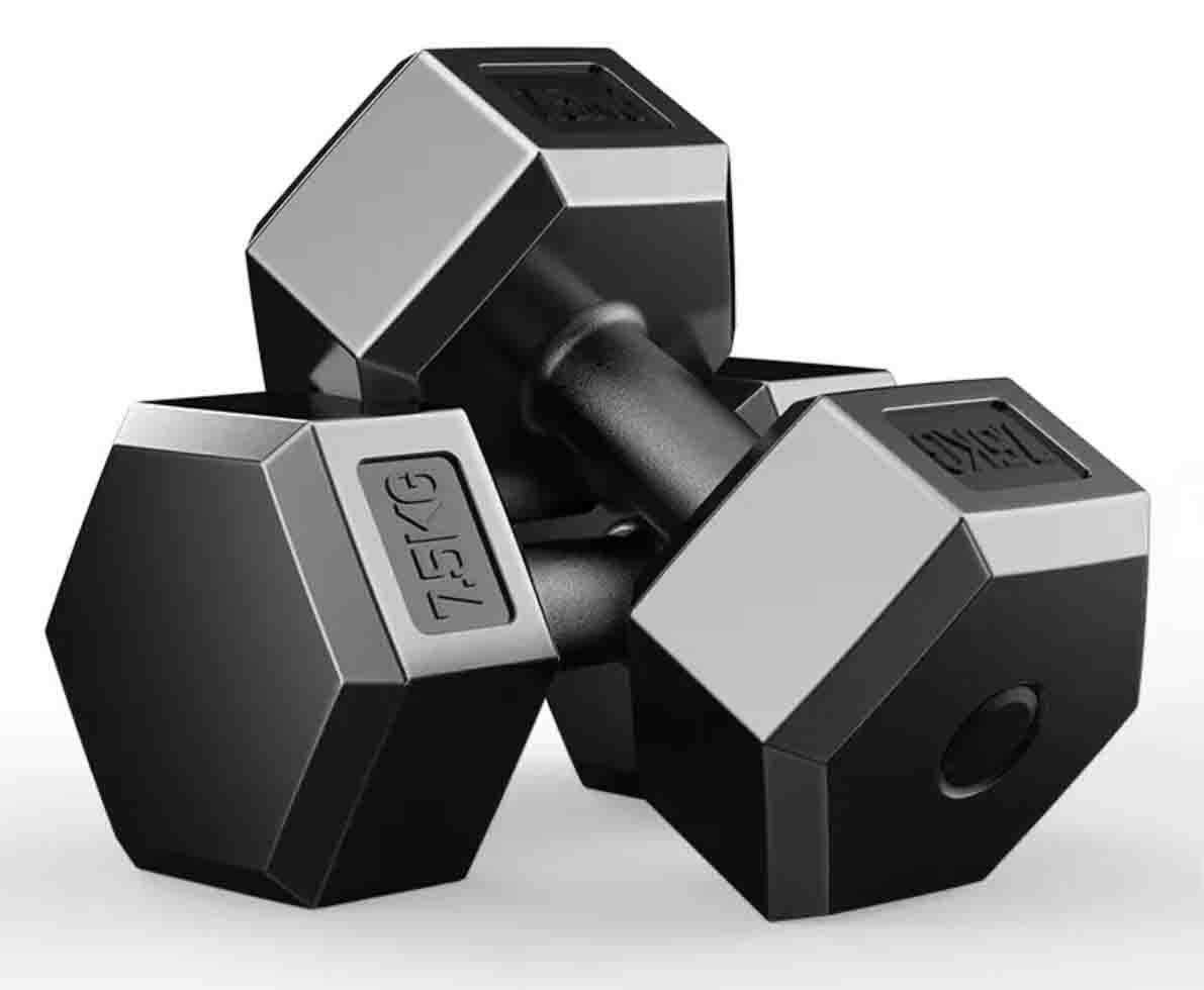 Hexagon Dumbbell (2.5 Kg X 2=5KG ) (5 kg X 2=10KG ) (7.5 kg X 2=15KG) (10 KG X 2=20KG) image on snachetto.com