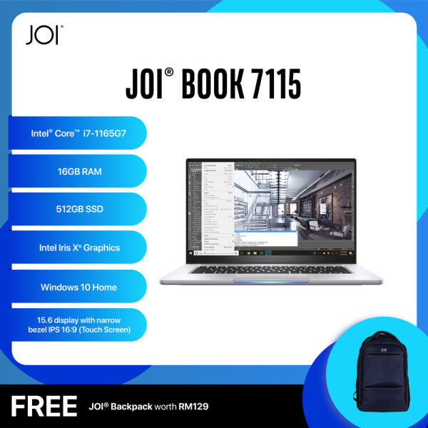 JOI Book 7115 (i7-1165G7/16GB/512GB SSD/15.6/Touch/Gray) Free JOI Backpack Malaysia