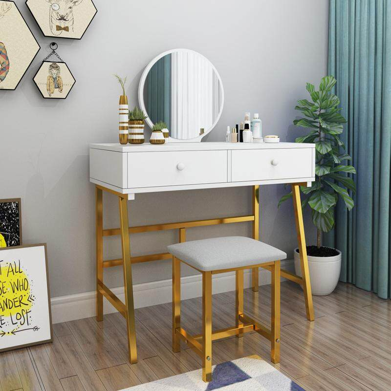 80cm in Width, Dressing Table Solid Wood European Bedroom Dressing Table with Stool and HD Mirror, Princess Makeup Cabinet Luxury flip Small Dressing Table, Doubel Drawer
