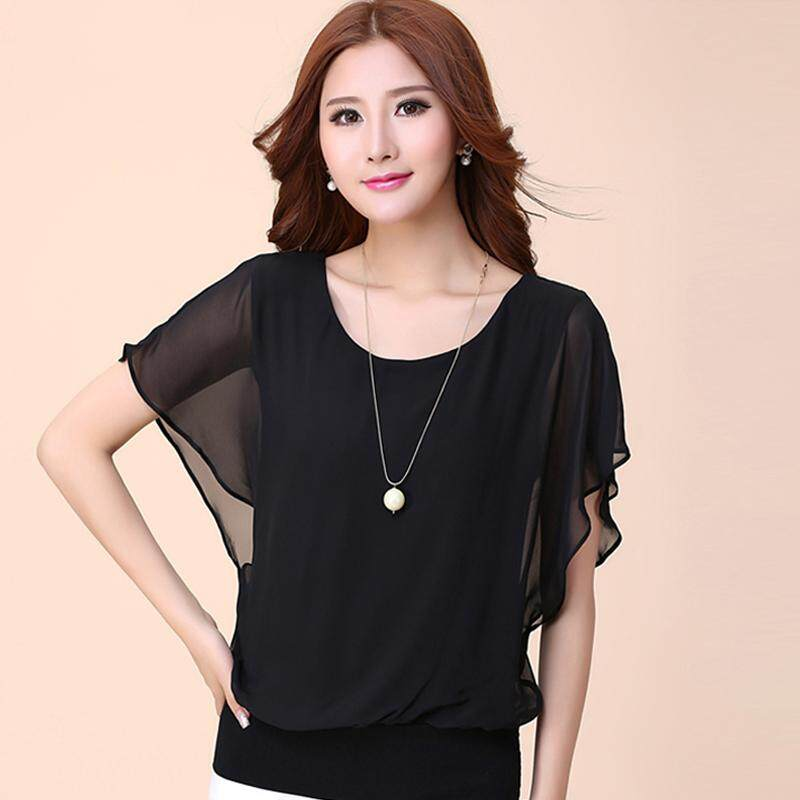 7c60823fb93284 Xiziy Women Summer O Neck Bat-sleeved Chiffon Tops Ladies Clothes