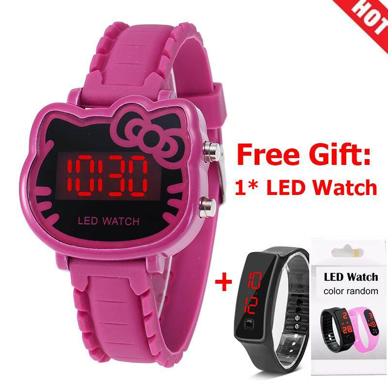 【Buy 1 Get 1 Free】YB1157 Watch Women Led Digital Cartoon Wrist Watches Children Girls Casual Womens Clock FWKI 02 Malaysia