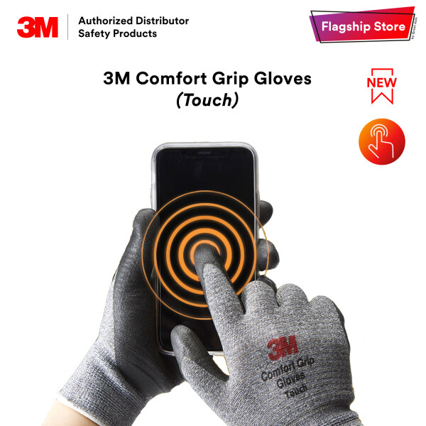[Exclusive] 3M Comfort Grip Gloves Touch / Touch Screen Friendly/ Grey Colour Glove/  [Size M/ L] HP_ EMD_