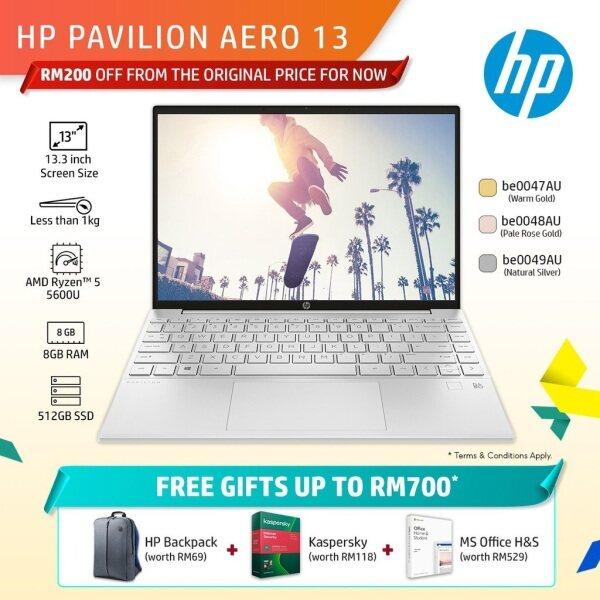 HP Pavilion Aero Laptop 13-be0047AU/be0048AU/be0049AU Notebook (RYZEN 5-5600U/13.3 WUXGA AG 400 NITS IPS NARROW BORDER/8GB/512GB SSD/UMA/W10 HOME/OPi/2 YRS WARRANTY) Malaysia