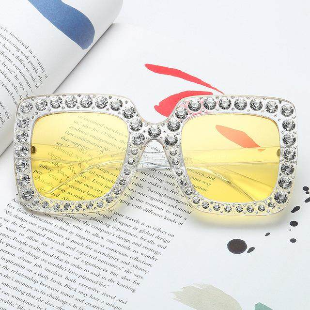 keqinbhd Oversized Sunglasses Women Retro Top Rhinestone Brand Designer Italian Big Crystal Sun Glasses Square Shades