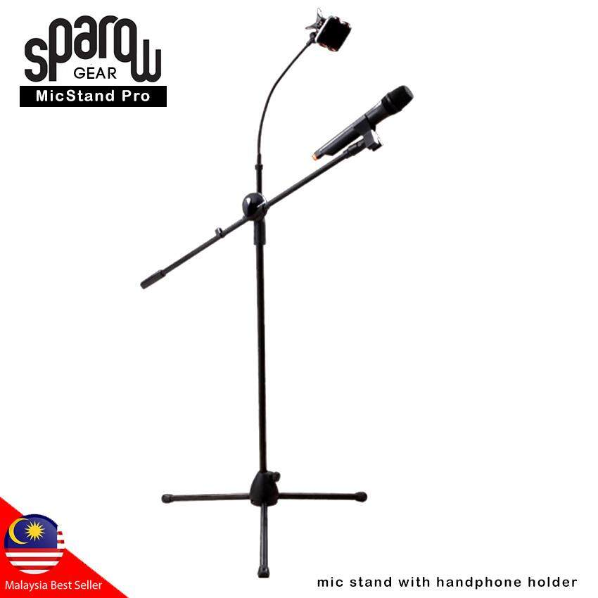 Microphone Floor Stand Tripod Adjustable Height with Boom Arm Phone Holder