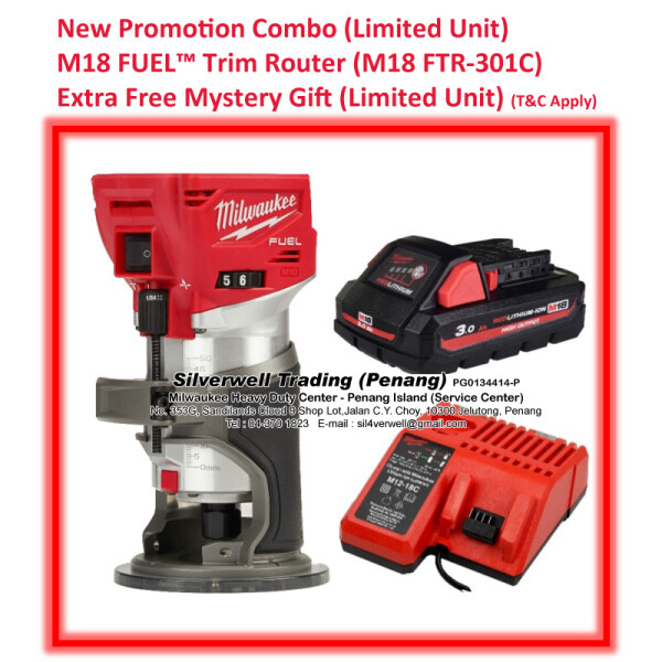 Milwaukee M18 FTR-301C FUEL™ Trim Router Compact (Extra Free Mystery Gift = Limited Unit = T&C Apply) Ready Stock