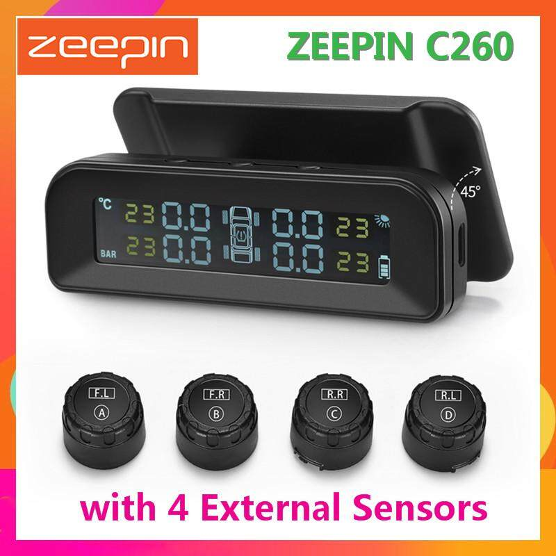Original Zeepin C260 Tire Pressure Monitoring System Solar Tpms Universal Real-Time Tester Lcd Screen With 4 External Sensors By Chinabrands_com Store.