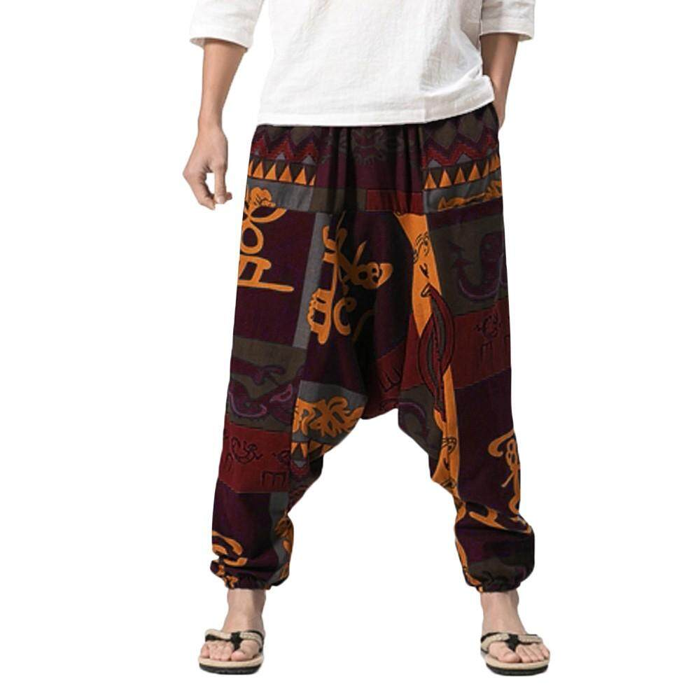 Men's Harem Pants Cotton Linen Festival Baggy Boho Trousers Retro Gypsy Pants