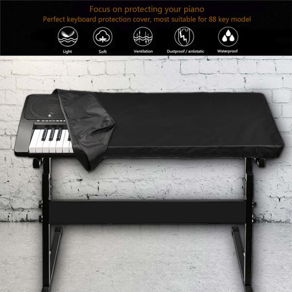 Dust-Proof Protect The Keyboard Schwarz Keyboard Abdeckung Haube Tasche Dust Cover 61/88 Klavier Piano Keyboard Easy To Clean Electronic Organ Cover-Nylon Rope Tightening-Anti-Yujin Fabric High Quality Versatility Malaysia