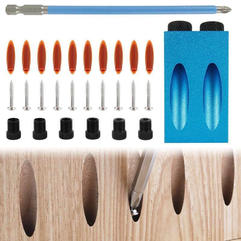 15 ° Pocket Hole Vít Jig Dowel Khoan Set Công Cụ Gỗ Kit Góc Lỗ Định Vị Dowel Khoan Set