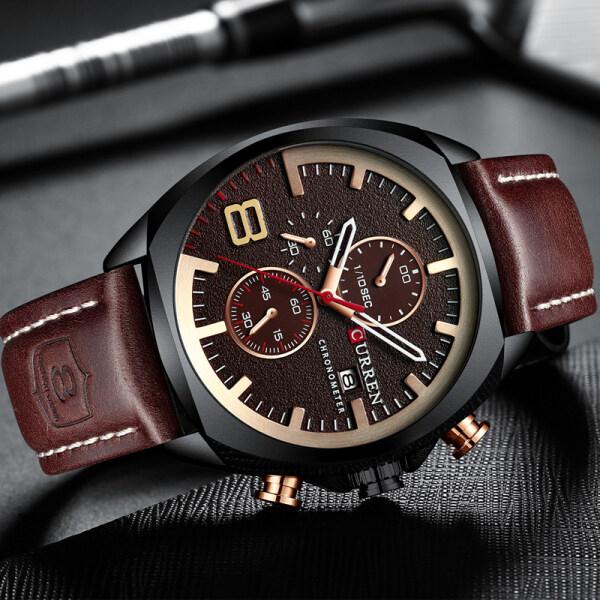 CURREN Top Brand Mens Watches Fashion Leather Strap Quartz Clock Casual Men Sport Waterproof Chronograph Date Watch Malaysia