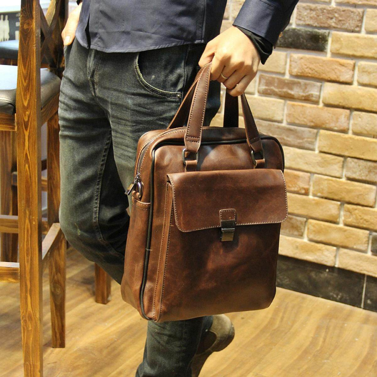 Mens casual horse leather business tote bag mens bag