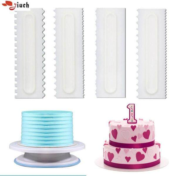 Jiuch 4Pcs Durable Cake Decorating Comb Icing Smoother Cake Scraper 6 Design Texture PP Safety Cake Making DIY Kitchen Professional Baking Tools