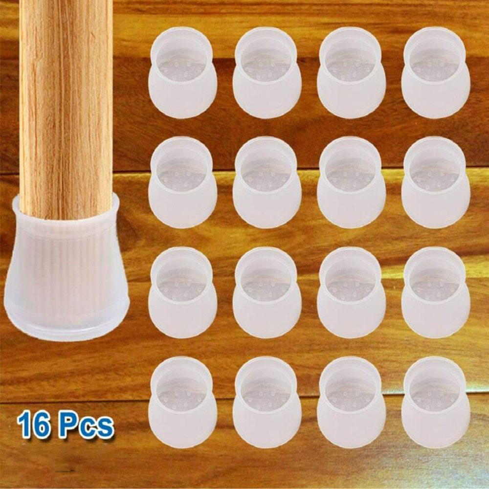 16Pcs Furniture Legs Caps Durable Non Slip Rubber Round Furniture Feet Cups Quiet Table Feet Covers Furniture Pads Floor Protector Silicone Chair Leg Protection Caps Gris