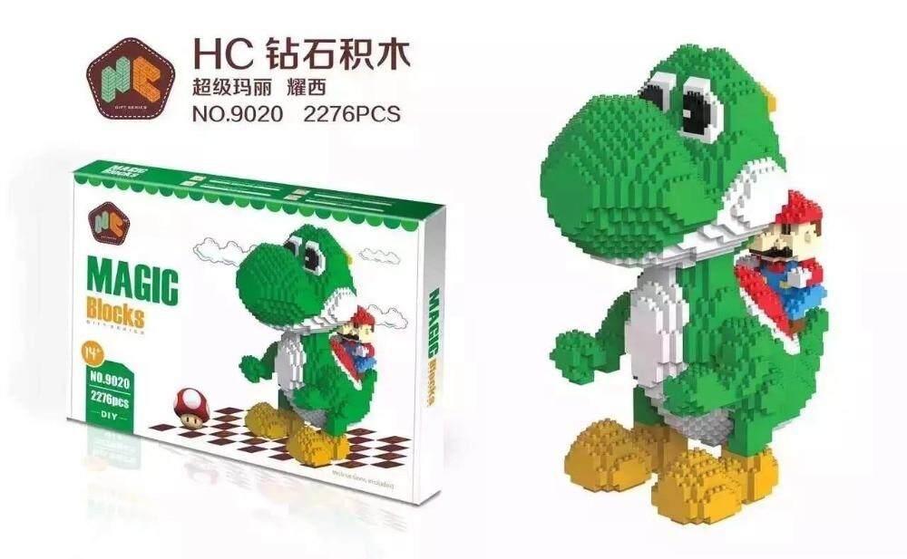 HC 2276Pcs Super Mario Yoshi Model DIY Diamond Mini Building Nano Blocks Bricks