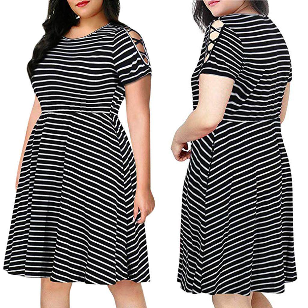 2c1d520c016 Tianji Store Women s Short Sleeves Scoop Neckline Striped Print Plus Size  Fit and Flare Dress
