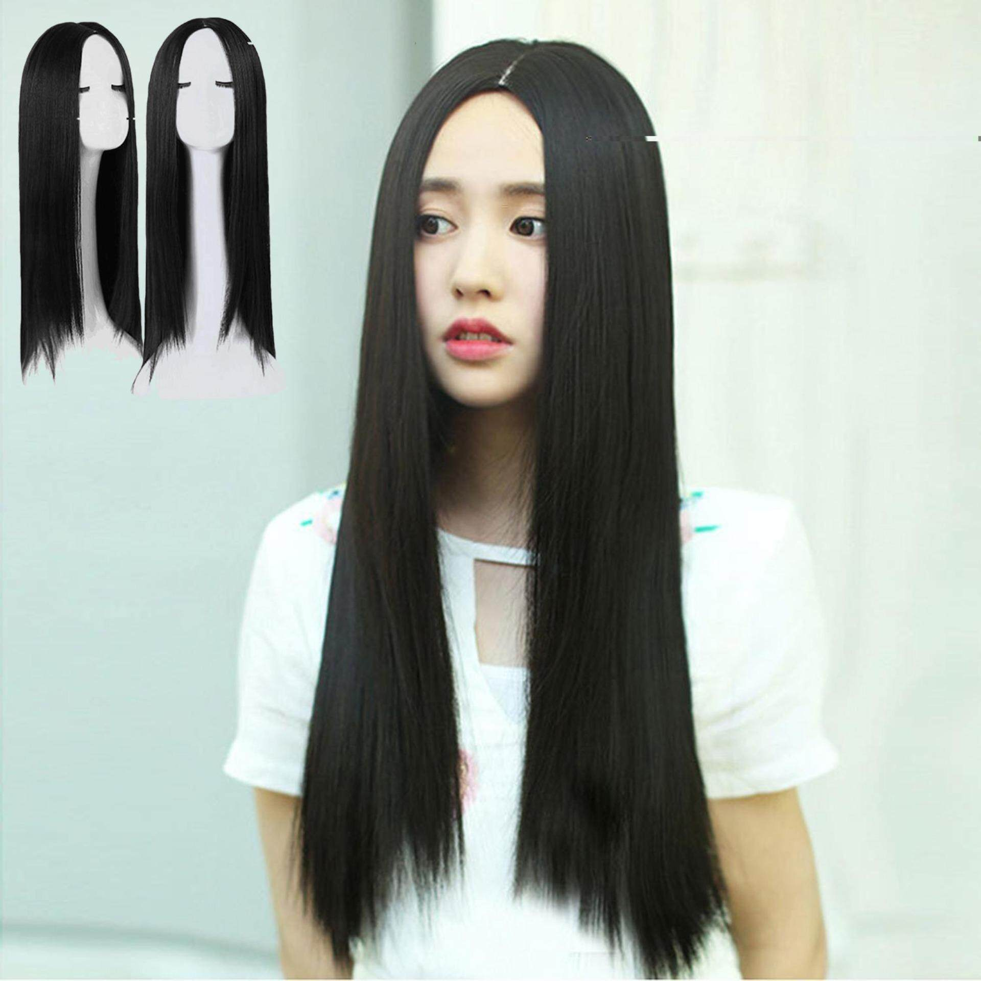 Women Fashion Long Straight Hair Extensions Wig for Daily Wear Appointment  Party Cosplay Costume Black 7863149458