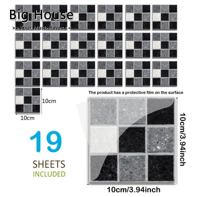Big House 19Pcs Waterproof Self Adhesive Black White Mosaic Tile Sticker For Kitchen Backsplash Bathroom Wall